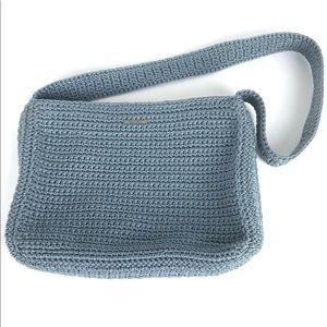 The Sak Crochet Shoulder Purse Handbag Zip Blue
